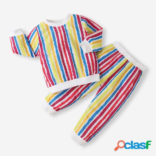 Conjunto de roupas casuais de mangas compridas de cor listrada para menina de 2-8 anos