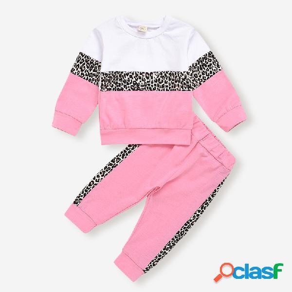 Conjunto de roupas casuais de mangas compridas de impressão leoard da menina para 1-7a