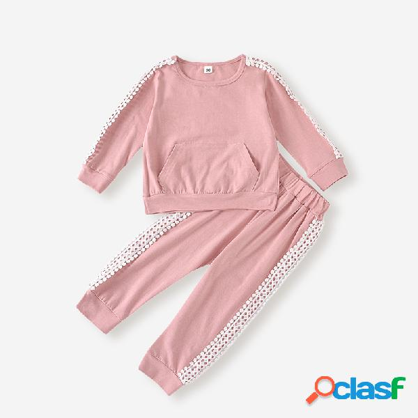 Conjunto de roupas casuais de mangas compridas de retalhos de meninas para 2-8 anos