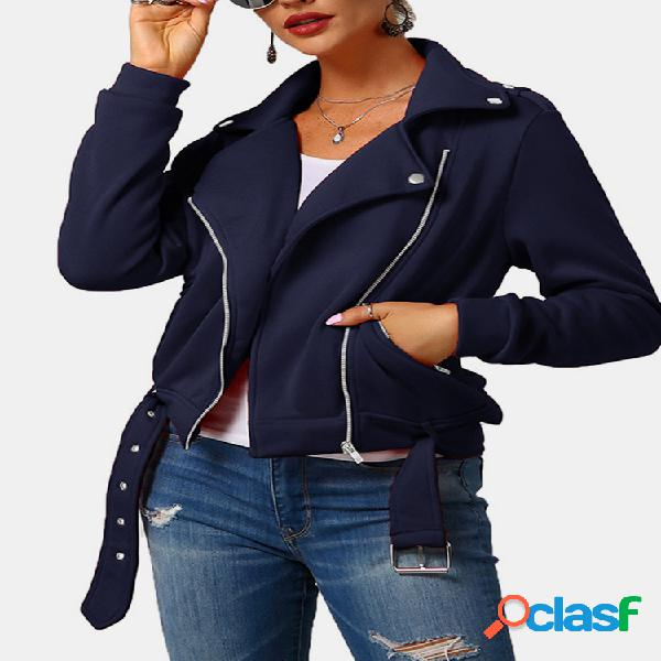 Cor sólida manga comprida lapela jaqueta casual para as mulheres