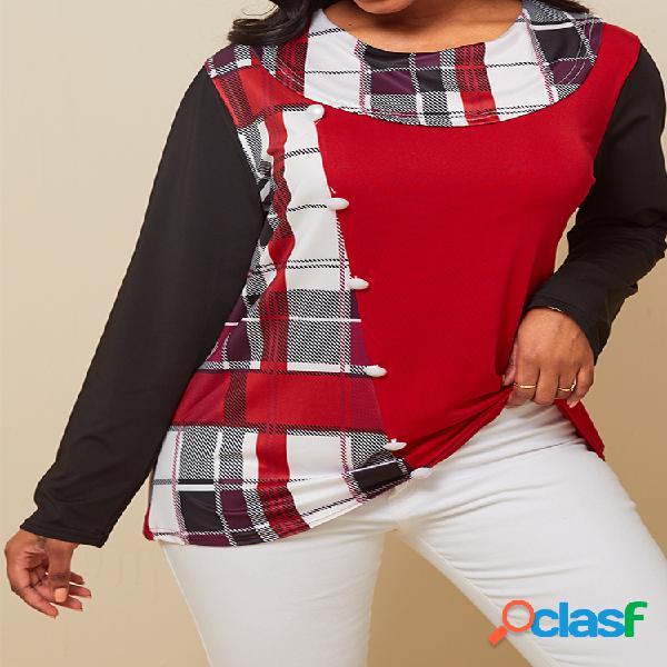 Manta de manga comprida o-neck patchwork button blusa para mulheres