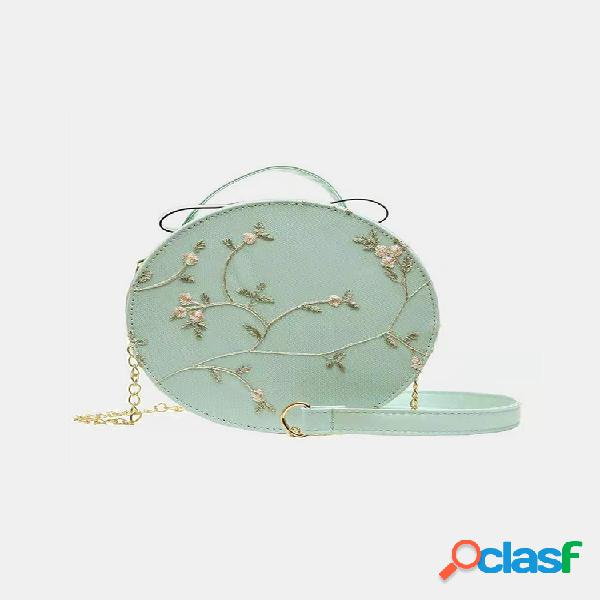 Mulheres floral lace bordado rodada bolsa mochila bolsa crossbody bolsa bolsa