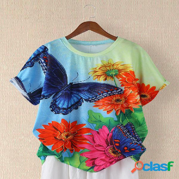 T-shirt de manga curta estampada floral com gola borboleta