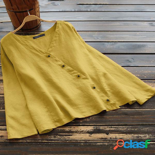 Vintage cor sólida botão irregular plus blusa de tamanho