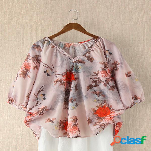 Blusa casual para mulheres com estampa flor vintage