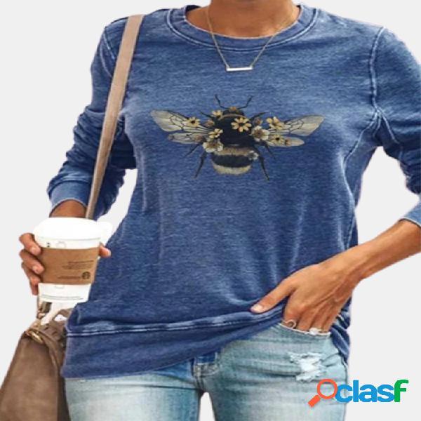 Camiseta casual de manga comprida com estampa de abelhas com gola o