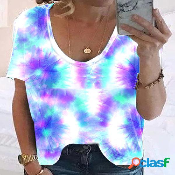Camiseta de manga curta estampada ombre ombre tie-dye