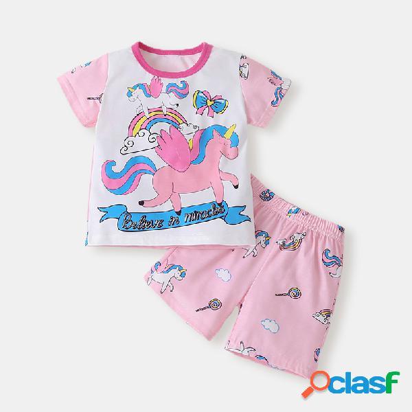 Conjunto de roupas casuais de mangas curtas de unicórnio para menina de 1 a 7 anos