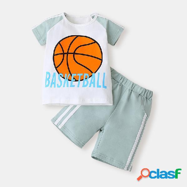 Conjunto de roupas de mangas curtas de futebol para menino de 1 a 7 anos