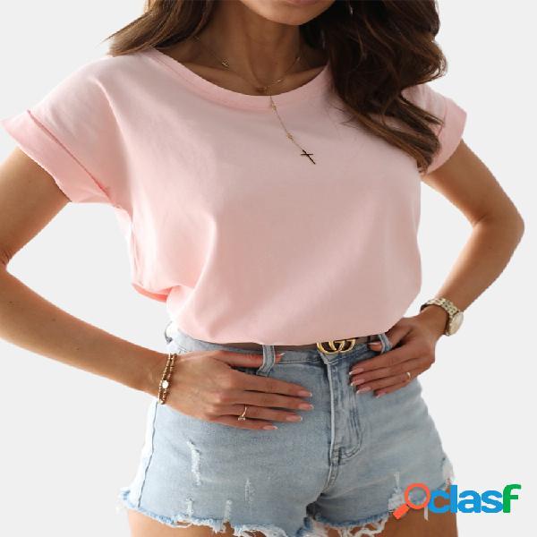 Cor sólida manga curta o-pescoço t-shirt para as mulheres