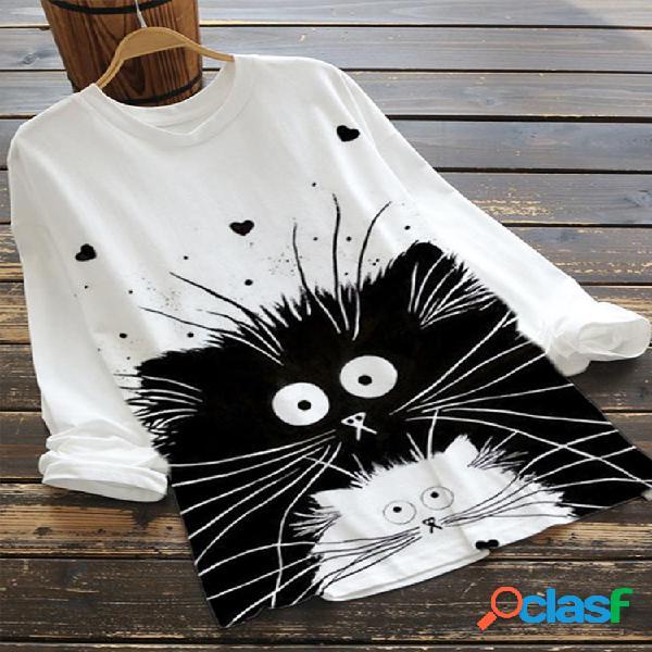 Cartoon cats print manga comprida tamanho plus blusa