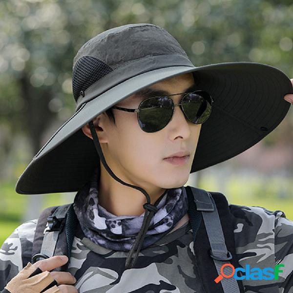 Sun chapéu homem grande aba pesca ao ar livre pescador chapéu fino sol respirável chapéu montanhismo sun chapéu