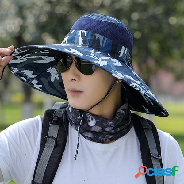 Sun chapéu masculino aba superdimensionada fisherman chapéu protetor solar masculino anti-ultravioleta montanhismo chapéu protetor solar esportivo ao ar livre chapéu