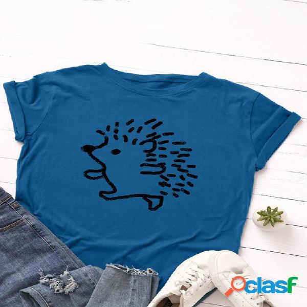 T-shirt com decote em o de manga curta estampada cartoon