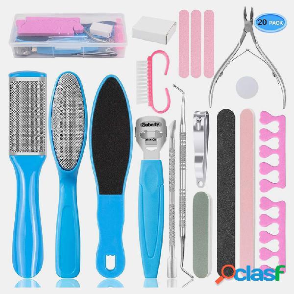 8 em 1 conjunto de arquivos de pé esfoliante pele dura removedor de calos pedicure profissional ferramenta de cuidados com os pés de beleza