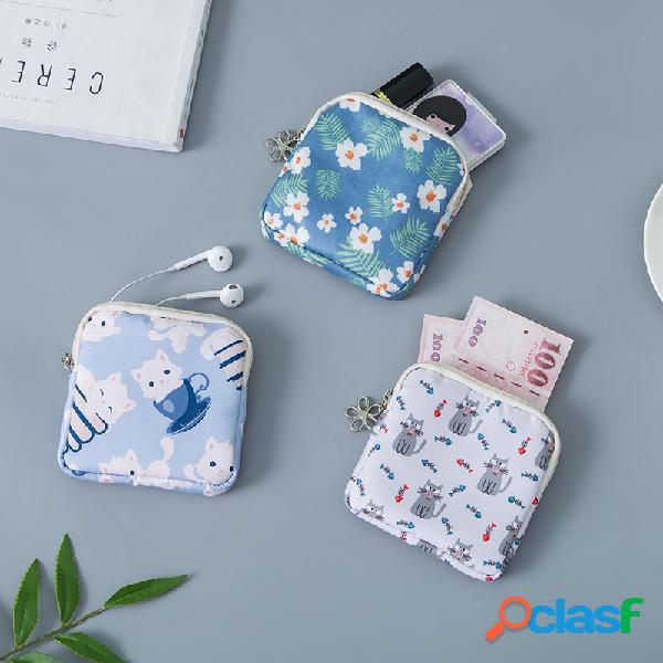 Algodão higiênico bonito bolsa armazenamento bolsa carteira zíper carteira cartoon pequeno armazenamento de flores bolsa grande capacidade
