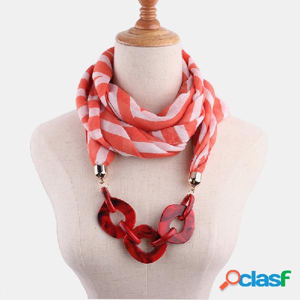 Colar multicamadas de algodão boêmio impresso slub de algodão com corrente artesanal de contas feminino lenço colar xale