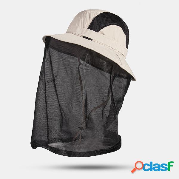 Protetor solar externo masculino de secagem rápida para pescoço uv balde casual de proteção chapéu com capa de malha removível