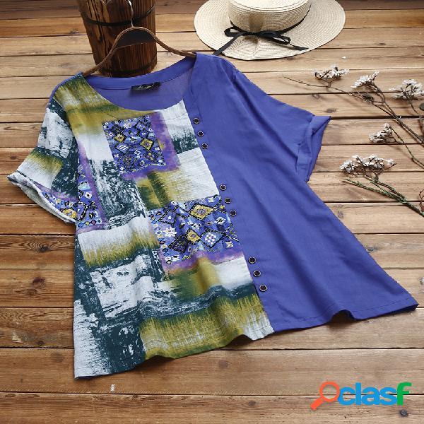 Camiseta de manga curta patchwork estampado vintage plus tamanho