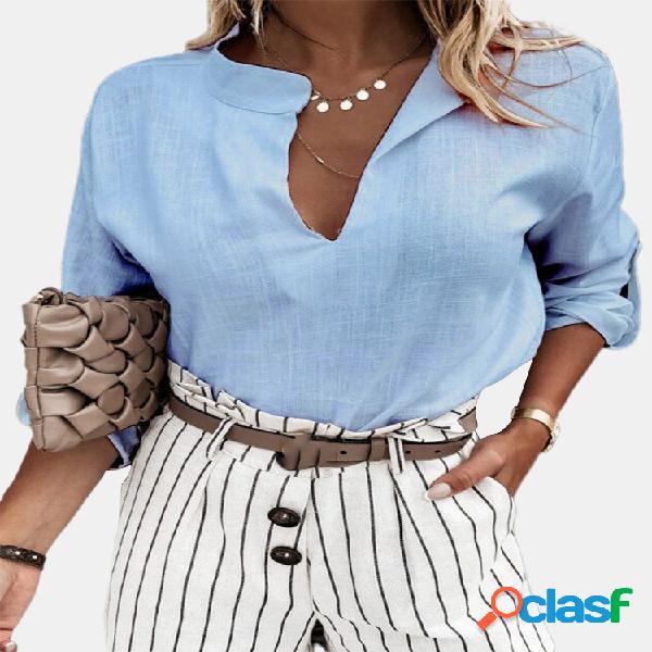 Colar de suporte de cor sólida manga longa com decote em v casual camisa para mulheres