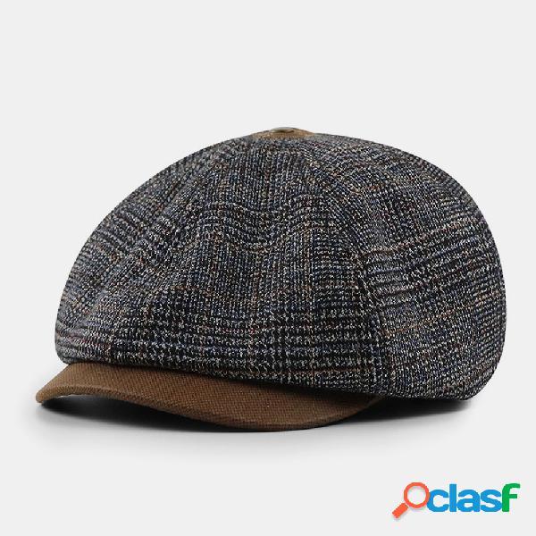 Homens estilo britânico vintage contraste cor outono inverno mantenha quente octogonal chapéu jornal chapéu