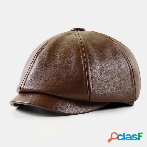 Homens pu couro retro estilo britânico outono inverno mantenha quente octogonal chapéu newsboy chapéu tampas planas