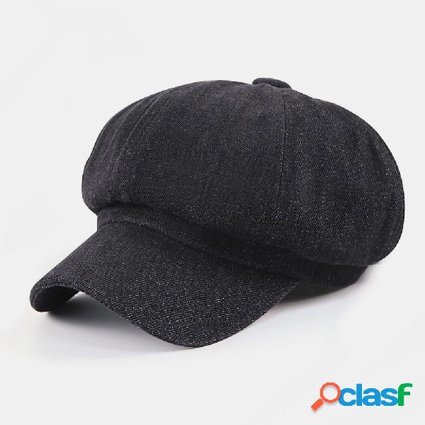 Homens retro estilo britânico cor sólida outono inverno mantenha quente octogonal chapéu newsboy chapéu bonés plana
