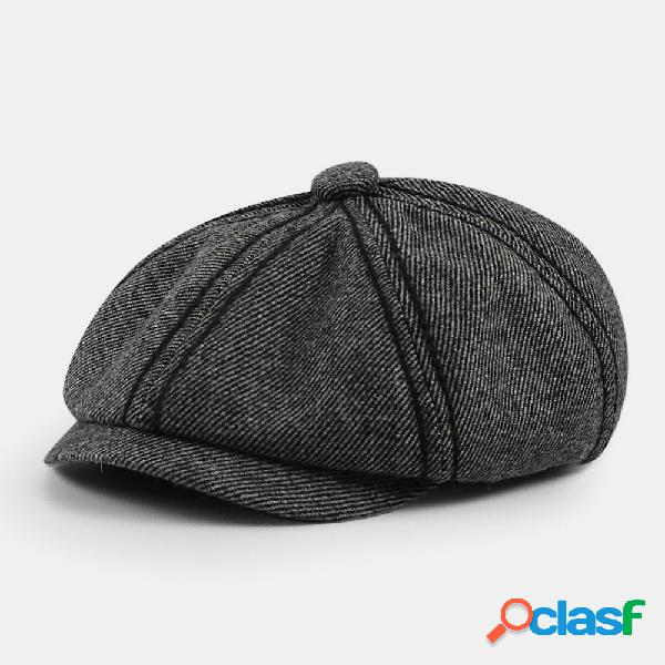 Masculino retro twill estilo britânico outono inverno mantenha quente octogonal chapéu newsboy chapéu boné plano