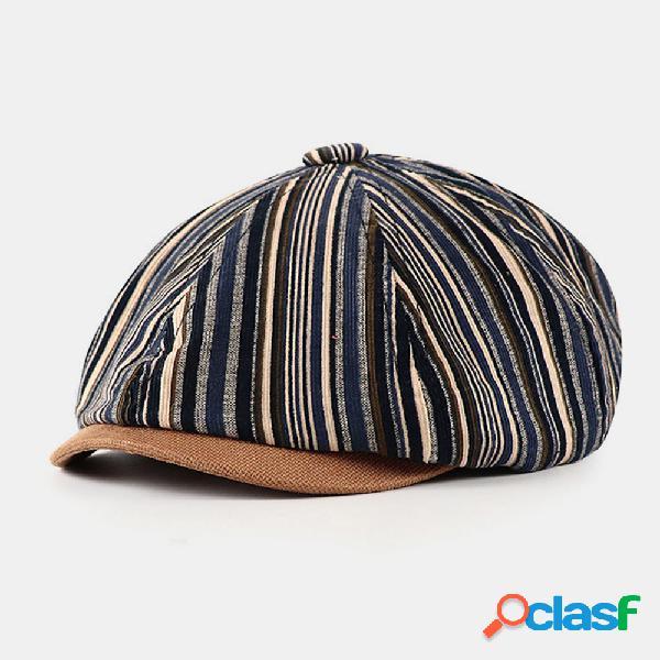 Men algodão stripe padrão estilo britânico outono inverno mantenha quente octogonal chapéu newsboy chapéu bonés planos