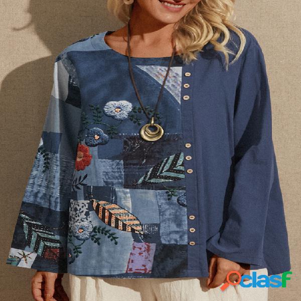T-shirt com estampa de bordado patchwork manga longa vintage plus tamanho