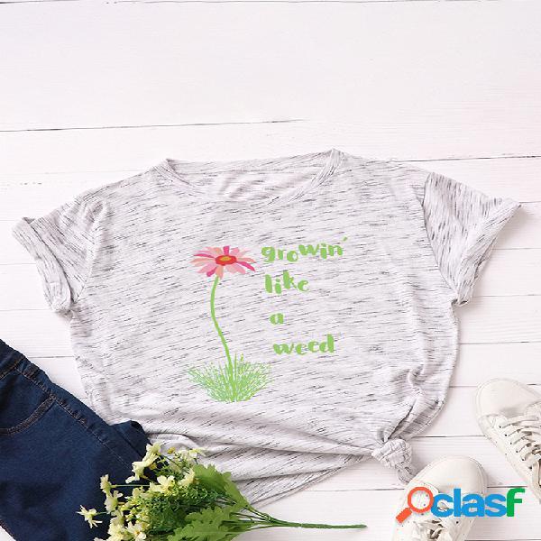 Camiseta feminina de manga curta estampada com decote em o