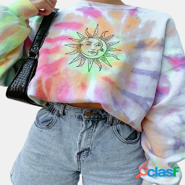 Camisola de manga comprida com decote em o com estampa da sun para desenhos animados tie dye
