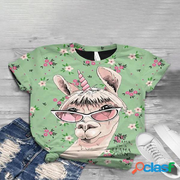 T-shirt o-enck de manga curta estampada cartoon para mulheres