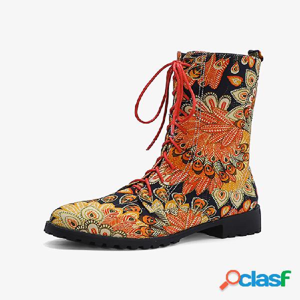 Botas de combate de calcanhar de meia panturrilha bordadas para impressão em bloco de salto redondo de calcanhar redondo para mulheres