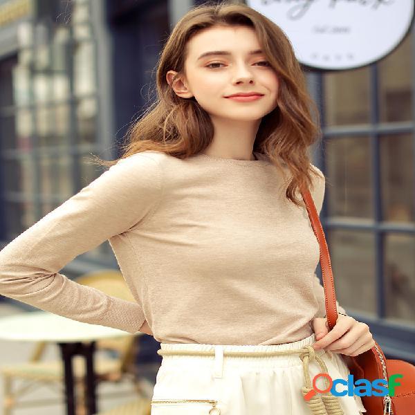 Camisola de malha elástica de manga comprida com gola redonda camelo coroa cor sólida