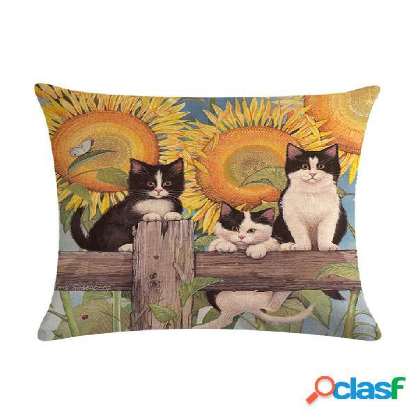 Cartoon cat padrão algodão linho travesseiro capa de almofada assento carro casa sofá cama fronha decorativa