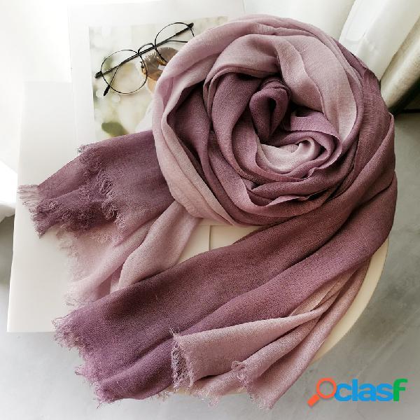 Lenço de algodão e linho para senhoras outono e inverno cor gradiente combinando com mulheres da floresta feminina xale fio dental