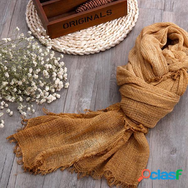 Lenço de algodão e linho tingido sujo para senhoras outono e inverno mori feminino arte tecido estilo étnico lenço com franjas