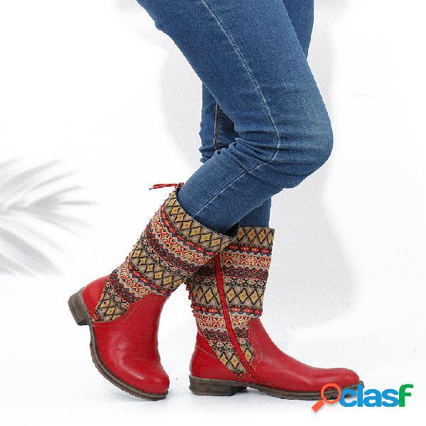 Socofy vintage tribal grid tecido confortável costura de couro com dedo do pé redondo zíper lateral metade da panturrilha
