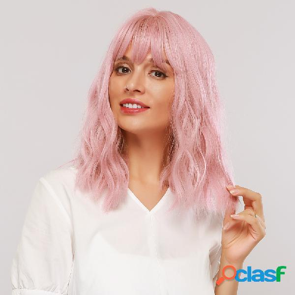 12 polegadas sintético peruca smoky rosa omelete encaracolado de comprimento médio cabelo peruca