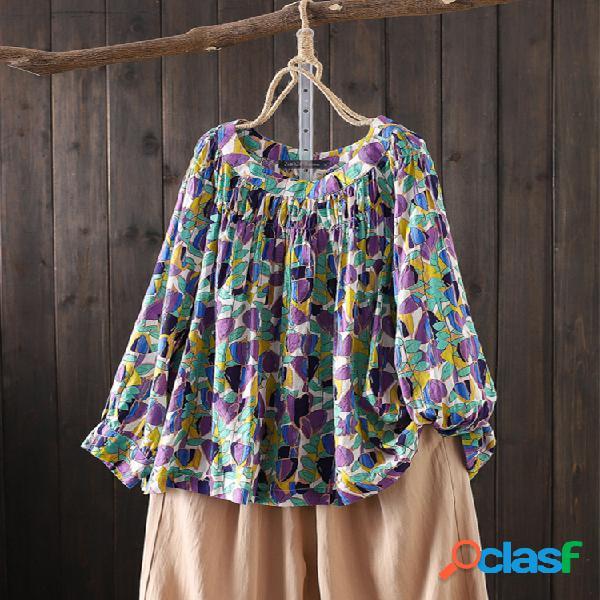Blusa de manga comprida floral estampado plus tamanho vintage