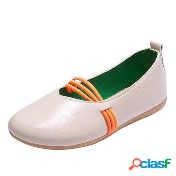 Dedo do pé redondo feminino de cor sólida soft sola confortável em sapatos planos casaul