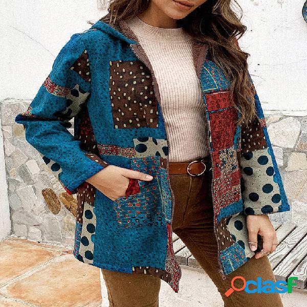 Casaco de mangas compridas com capuz estampado vintage patchwork para mulheres