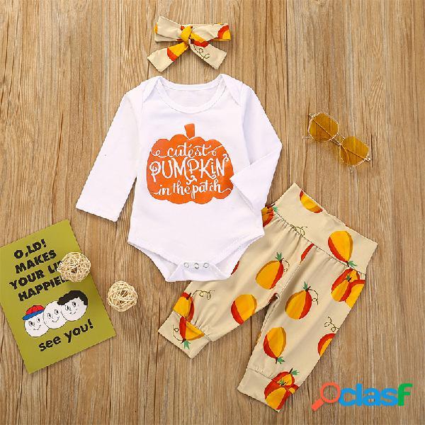 Conjunto de roupas casuais de mangas compridas com estampa de abóbora para bebê de 3 peças para 6-24 milhões