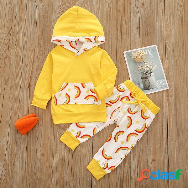 Conjunto de roupas com capuz de mangas compridas com estampa do arco-íris de bebê para 6-24 milhões