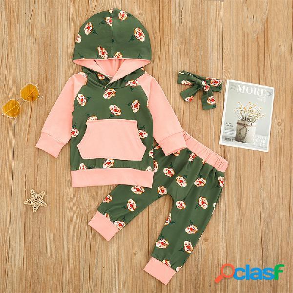 Conjunto de roupas de mangas compridas com capuz para bebês com estampa floral para 6-24 milhões