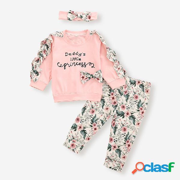 Conjunto de roupas de mangas franzidas com estampa floral de bebê de 3 peças para 6-24 milhões