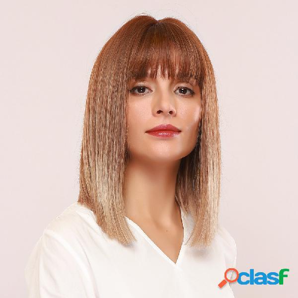 "14 ""gold brown gradient air bangs sintéticos peruca soft médio comprimento straight cabelo perucas"