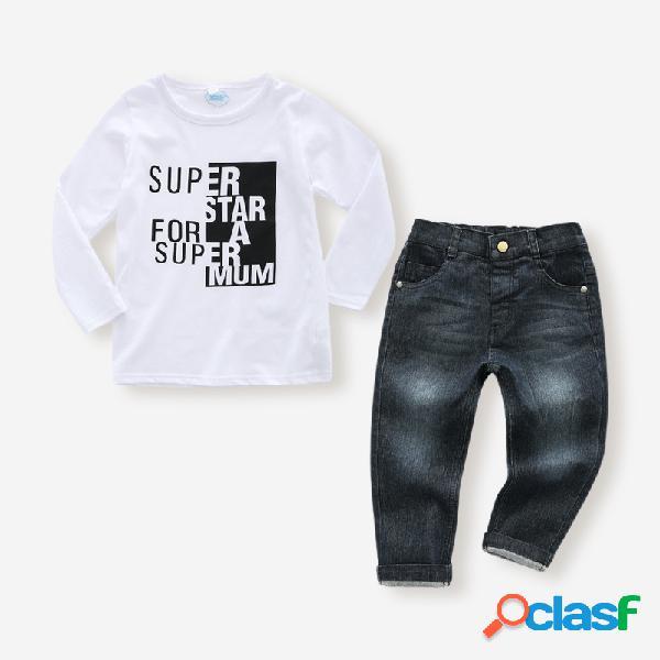 Conjunto de mangas compridas com estampa de carta masculina + jeans conjunto de roupas casuais para 1-7 anos