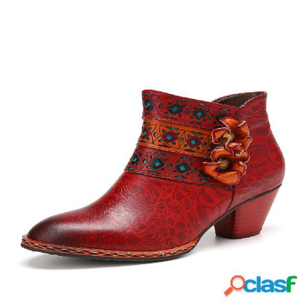 Socofy botas laterais de couro recortado em couro de vaca com flores laterais e salto alto